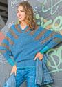 Пуловер с полосами на рукавах покроя летучая мышь. Крючок