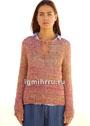 Меланжевый летний пуловер с верхним разрезом. Крючок