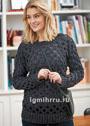Модная прозрачность. Черный пуловер с узором из сквозных ромбов. Крючок