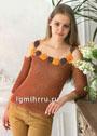 Молодежный летний пуловер с цветочным декором. Крючок