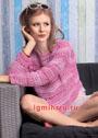 Ажурный пуловер из хлопковой меланжевой пряжи. Крючок