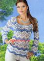 Летний пуловер с зигзагообразным узором. Крючок