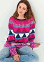 Жаккардовый многоцветный пуловер с кокеткой. Крючок