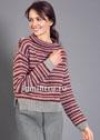 Шерстяной пуловер с разноцветными полосками. Крючок