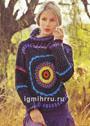 Оригинальный пуловер из кругов, выполненных пряжей разных цветов. Крючок