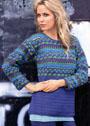 Шерстяной пуловер с разноцветной кокеткой. Крючок