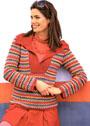 Полосатый пуловер с отложным однотонным воротником. Крючок