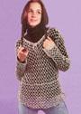 Бежевый пуловер-сетка. Крючок