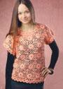 Персиковый пуловер с цветочными мотивами. Крючок