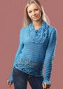 Голубой пуловер с ажурным воротником. Крючок