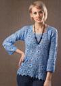 Голубой пуловер с цветочными мотивами. Крючок