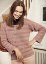 Пуловер с горизонтальными ажурными полосами. Крючок