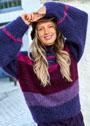 Объемный мохеровый пуловер в полоску. Крючок