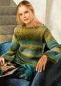 Пуловер с цветовыми переходами в зелено-синих тонах. Крючок