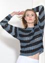 Легкий ажурный пуловер в полоску. Крючок