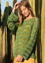 Ажурный пуловер летнего зеленого цвета. Крючок