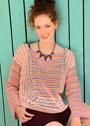 Трехцветный сетчатый пуловер. Крючок