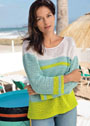 Трехцветный летний пуловер в полоску. Крючок