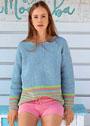 Голубой пуловер с полосками. Крючок