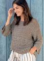 Свободный пуловер с жасминовым узором. Крючок