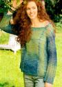Сине-зеленый меланжевый пуловер свободного силуэта. Крючок