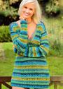 Пуловер в полоску с глубоким V-образным вырезом. Крючок