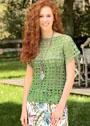 Летний зеленый пуловер с цельновязаными рукавами. Крючок