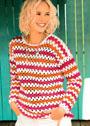 Пуловер с зигзагообразными полосками. Крючок