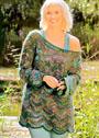 Разноцветный пуловер с круглой кокеткой и волнистым узором. Крючок