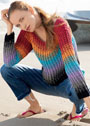 Многоцветный пуловер из рельефных столбиков. Крючок