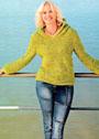 В спортивном стиле. Пуловер горчичного цвета с капюшоном. Крючок