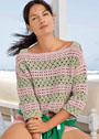 Полосатый летний пуловер на бретелях. Крючок
