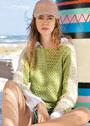 Двухцветный хлопковый пуловер-кимоно. Крючок