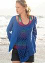 Летний пуловер с миксом узоров и сетчатой вставкой. Крючок