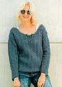 Синий пуловер с рельефным узором. Крючок