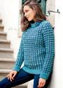 Теплый пуловер в двухцветную рельефную клетку. Крючок