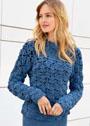 Синий теплый пуловер крупной вязки. Крючок