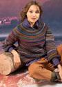 Пуловер в рельефную полоску, связанный вкруговую. Крючок