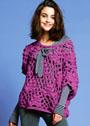 Малиновый теплый пуловер с веерным узором. Крючок