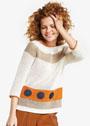 Ажурный пуловер с декором из кругов. Крючок