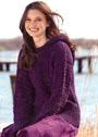 Фиолетовый пуловер с ребристым и сквозным узорами. Крючок
