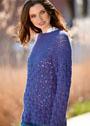 Синий пуловер с круглой кокеткой. Крючок