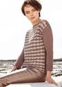 Двухцветный пуловер с узором из ракушек. Крючок