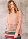 Розовый сетчатый пуловер с разрезами на рукавах. Крючок