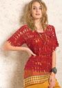 Красный узорчатый пуловер с короткими рукавами. Крючок