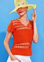 Оранжевый летний пуловер с ажурными вставками. Крючок