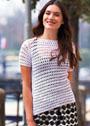 Диагональный белый пуловер с короткими рукавами. Крючок