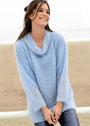 Удлиненный мохеровый пуловер с круглым воротником. Крючок