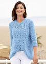 Голубой пуловер с косами и ребристым узором. Крючок