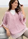 Свободный розовый пуловер с разрезами на рукавах. Крючок
